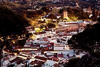 White village pueblo blanco Mijas at dusk Malaga Andalusia Spain.