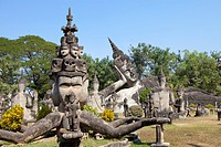 Buddhistic sculptures in Xieng Khuan Buddha Park in Vientiane, capital of Laos, Asia