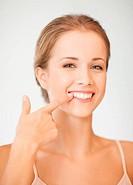 woman showing her teeth