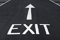 Exit Sign Painted on a Road.