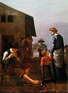 Peasant family, with a man removing fleas from himself, 1656-1660, painting by Michael Sweerts (1618-1664), oil on canvas, 66.5x50 cm. Netherlands, 17...