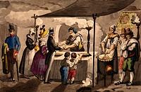 Society scene: pageantry and hunger, 1832, by Vincenzo Gaiatti, print. Italy, 19th century.  Rome, Istituto Nazionale per la Grafica, Gabinetto Nazion...