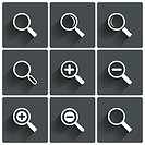 Zoom icons. Search symbols. Magnifier Glass signs.