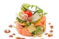 Avocado and salmon salad, isolated