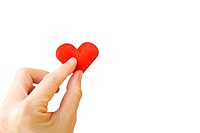 Hand holding red heart isolated on white background (clipping path)