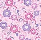 Purple Blossom Flowers Seamless Pattern Background