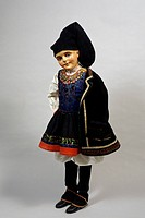 Mannequin wearing a traditional Sardinian costume, made by Bertuzzi, Milan. Italy, 20th century.  Private Collection