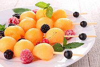 fresh melon and berries