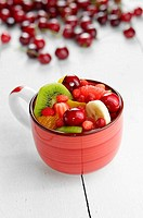 Red cup with fruits