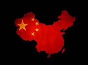 China outline map with grunge flag