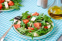 Greece salad with mozzarella, ruccola and tomatoes