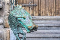 City Hall Dragon bronze railing in Mons, Belgium.