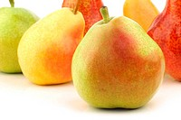 different colorful pears