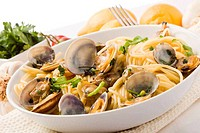 Pasta with Clams on white background
