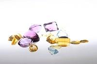 Gemstones on light background