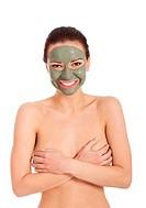 Beautifu toplessl woman with facial mask.