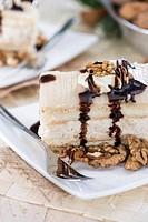 Portion of fresh made Walnut Cake