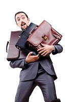 Businessman with briefcase on white