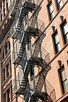 fire escape at an old downtow house