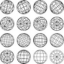 Set of abstract globes, vector illustration