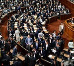 (150716) -- TOKYO, July 16, 2015 () -- Japanese opposition lawmakers leave the lower house to oppose the security bills in Tokyo, Japan, on July 16, 2...