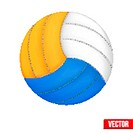 Volleyball in three colors. Vector. Isolated on white background