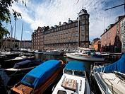 Modern apartments and boats at Christianshavn harbour area,Copenhagen,Denmark.