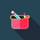 pencil box flat icon with long shadow,eps10
