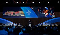 (150731) -- KUALA LUMPUR, July 31, 2015 () -- Yao Ming, three-time Olympian, seven-time NBA ALL star and Beijing 2022 ambassador, delivers a speech du...