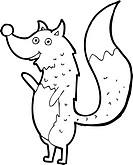 cartoon waving wolf