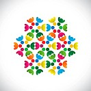 Concept vector graphic- abstract colorful teams of people icons(signs). The illustration shows concepts like worker unions,employee diversity,communit...