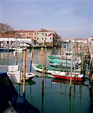 Boats docked on peaceful Giudecca Island, a peaceful residential island south of the main islands of Venice, Italy, Europe