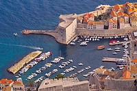 A view of Dubrovniks old port, Dubrovnik City, Dalmatian Coast, Croatia.