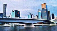 painting filter view of bridge over Brisbane river and city skyline.