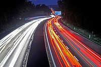 A40 motorway with light streaks in the evening