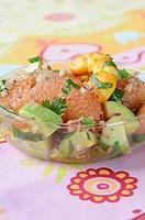 Grapefruit,avocado and shrimp salad