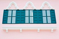 Window green on pink wall