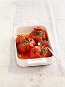 Tomatoes stuffed with two different types of meat
