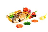 fried wish with grilled vegetables and sauces
