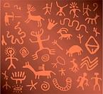 vector ancient petroglyphs