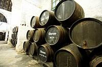 Sherry making in the Criadera e Solera method barrels three high in the bodega of Gutierrez Colosia.