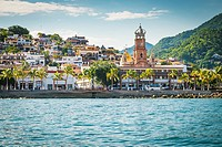 Colonia El Centro with church tower, Banderas Bay Coast Line, Puerto Vallarta, Mexico.
