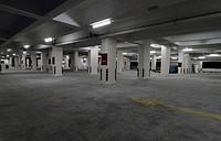An empty underground car park