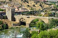 Alcantara Bridge Toledo Spain ES Tagus River.