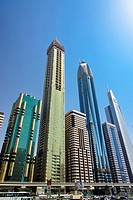 Overview of buildings on Sheikh Zayed Road. Dubai. United Arab Emirates.