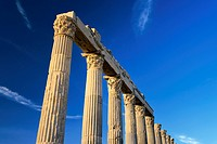 Greek Roman city of Laodicea aka Laodikeia on the Lycos. Central colonnaded thoroughfare Holy Way Portico. Denizli, Turkey.