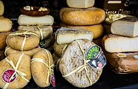 View of some cheese in Opera square, Madrid city, Spain