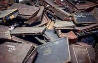 suitcases of dead prisoners, concentration camp. Auschwitz. Poland.