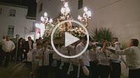 Night procession from the church carrying La Virgen del Rosario, patron saint of Salobreña through the town in Salobreña, Spain