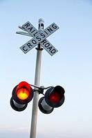 A railroad crossing signal in eastern Washington State, USA.